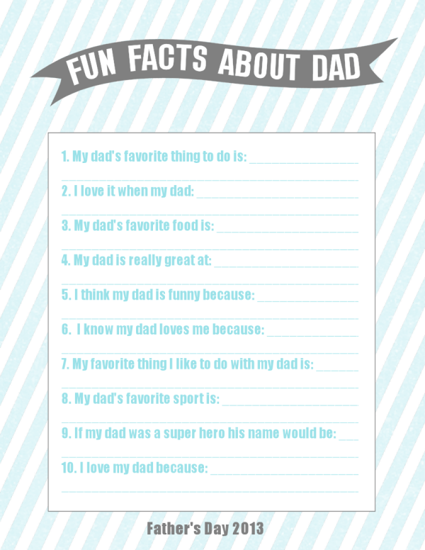 Fun Facts About Dad {Father's Day Gift Idea}