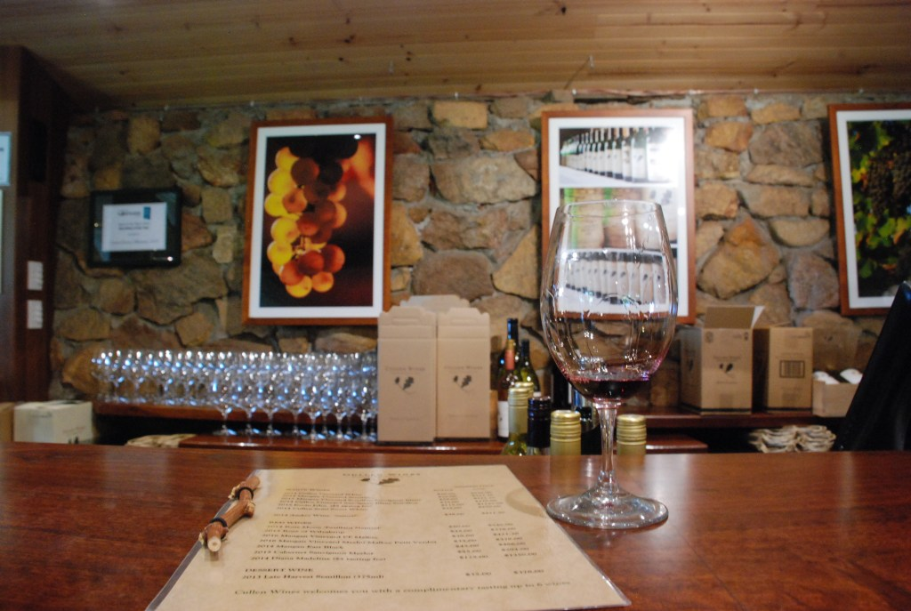 wine glass and wine list at Cullen Wines