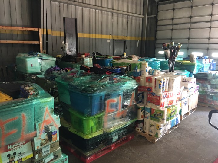Pallets prepared for transport to Florida