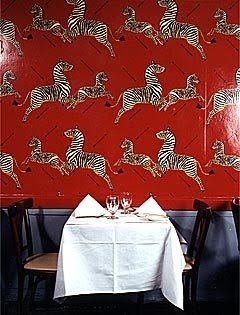 Scalamandre Zebras in the original Masai Red at Gino's (which sadly closed in 2010)