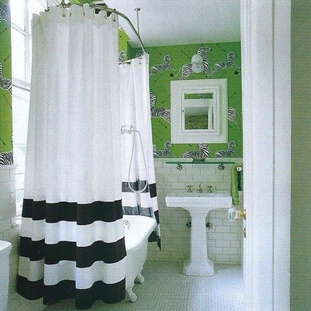 Kate Spade Scalamandre Zebras Green Bathroom