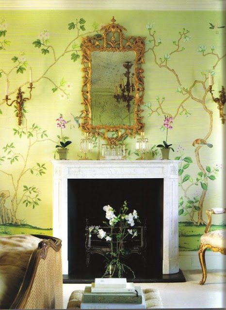 Yellow Chinoiserie Hand Painted Wallpaper Bedroom