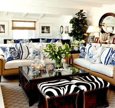 20 Blue and White Family/Living Rooms