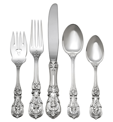 WALLACE STERLING SILVER ROSE POINT 6 PIECES PLACE SETTING MINT EXCELLENT COND