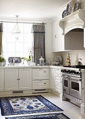 source unknown - Blue And White Kitchen