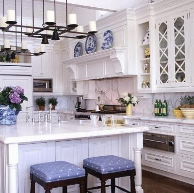 Interior White Kitchen Accessories 25 classic white kitchens with blue accessories source unknown