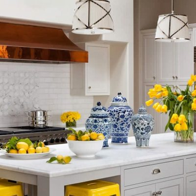 25 Classic White Kitchens with Blue & White Accessories