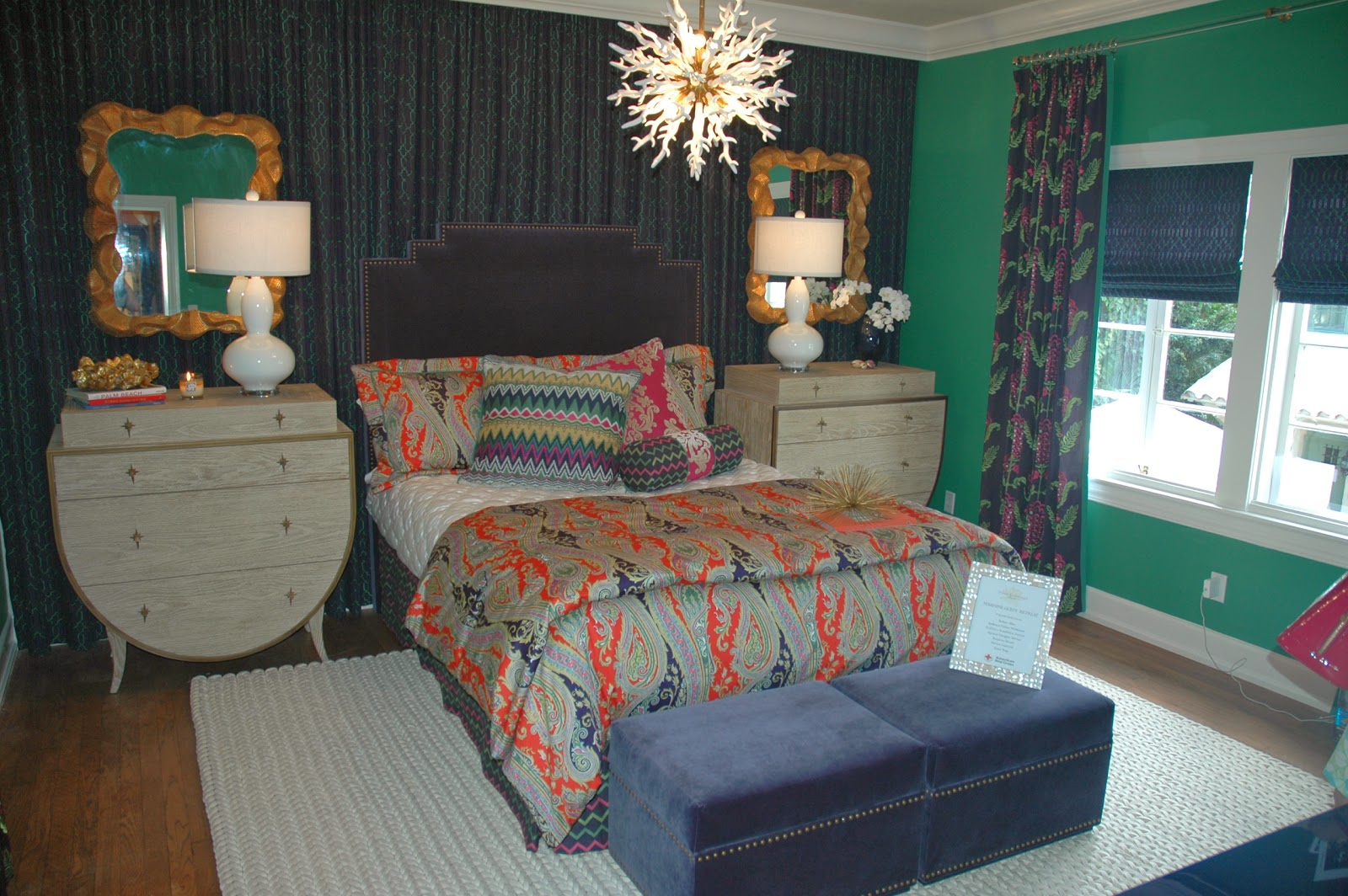 Lovely Inspiration for the guest retreat by Piper Gonzales Designs came from the brightly colored fabrics of Robert Allen us new Color Library Collection