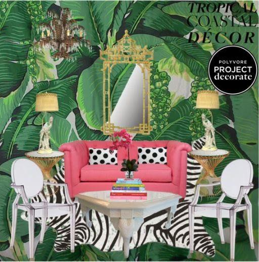 Polyvore Tropical Coastal Decor Palm Beach Chic Brazilliance Carleton Varney Pink  Green Ghost Chair 2