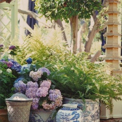Decorating with Blue and White Outdoors
