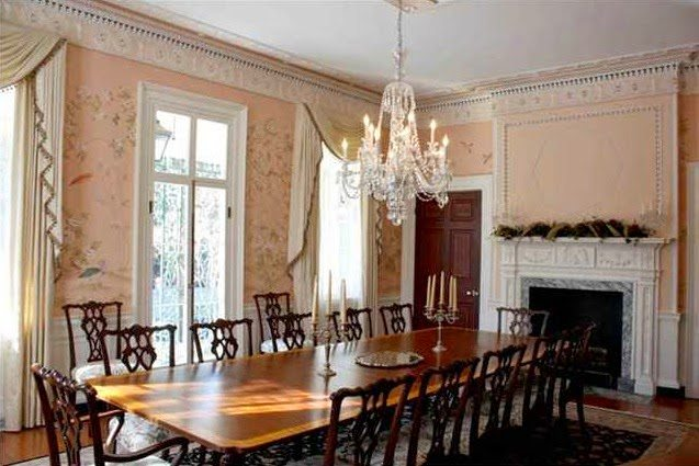 Pink De Gournay Dining Room Charleston Antebellum Home The Glam Pad