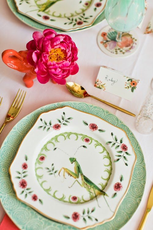u201cNatural Worldu201d praying mantis desert plates u201cOld Havanau201d mint dinner plates place cards & A Flamingo Pop Bridal Shower - The Glam Pad