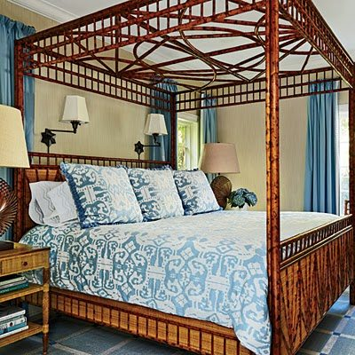 Fabulous The wicker and bamboo bed is custom Bedding is Island Ikat by Quadrille China Seas and the lamps are by Palecek