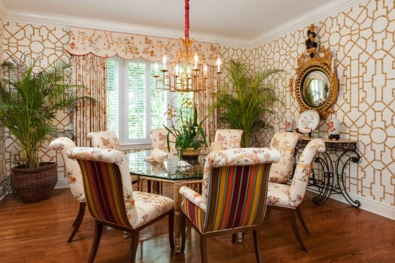 kemble interiors palm beach dining room bamboo trellis fretwork wallpaper quadrille
