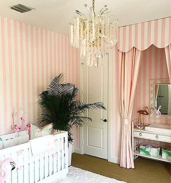 Elegant Pink And White Cabana Stripes, A Subtle Green And Pink Fig Leaf Fabric From  Spoonflower, Faux Bamboo And Tons Of Flamingos! Lauren Wanted To Create An  ...