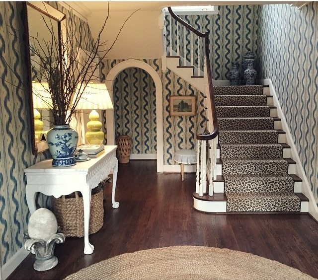 Beau Pierre Frey Toile De Nantes Wallpaper Blue White Leopard Stark Carpet Stair  Runner Sisal