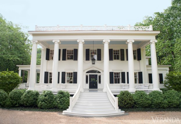 the two year renovation was so extensive that the famous pillars had to be taken down and the house was propped up by trees until they were replaced - Greek Revival Cottage