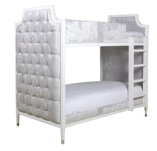 Fancy Gramercy Tufted Bunkbed White Finish Silver Fabric Twin u Retail SALE