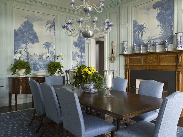 Unique The dining room walls were painted robin us egg blue and incorporate darker blue and white murals A subtle blue diamond pattern by Brunschwig u Fils covers