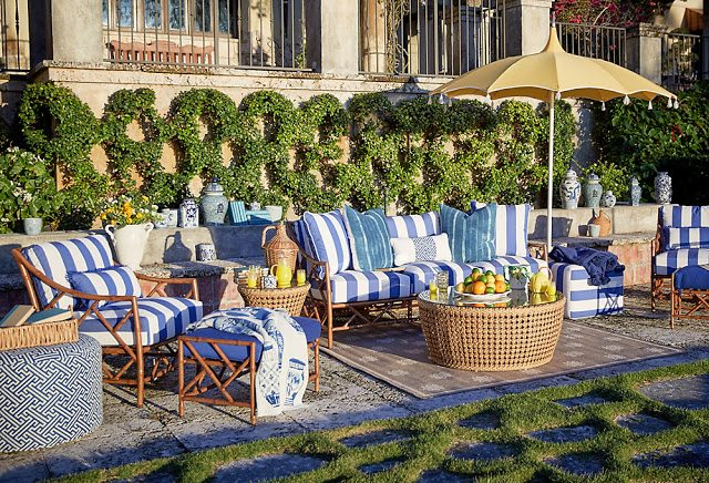 blue and white stripes patio furniture