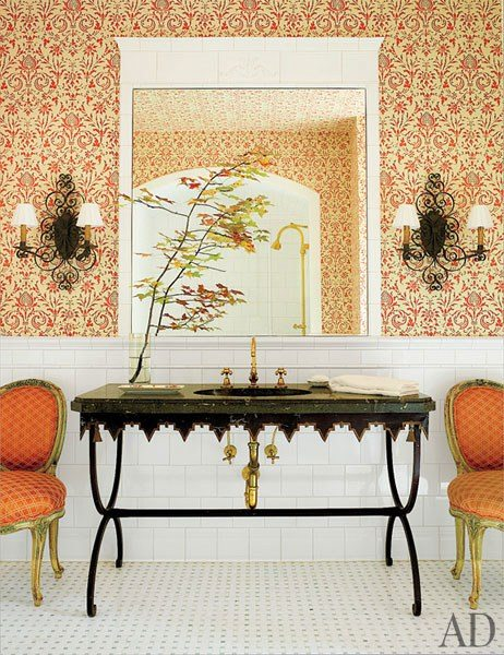 Marvelous The master bath us barrel ceiling was painted by Bob Christian Decorative Art The custom made borne by A Schneller Sons is covered in a Summer Hill fabric