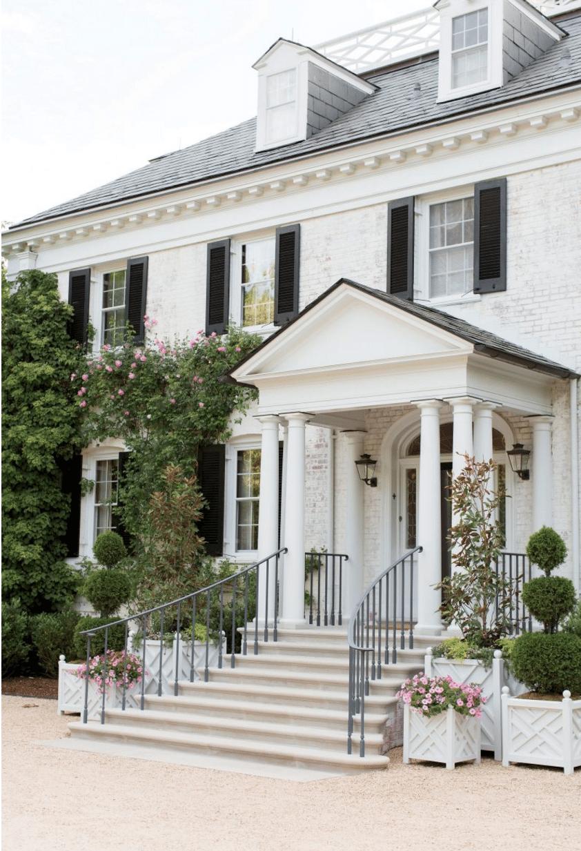 Climbing Roses Rose Covered House White Brick Garden And Gun