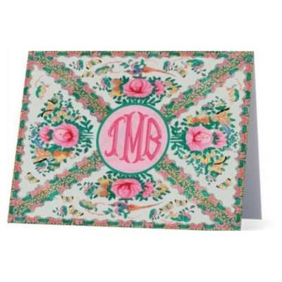 Rose Medallion Monogrammed Notecards