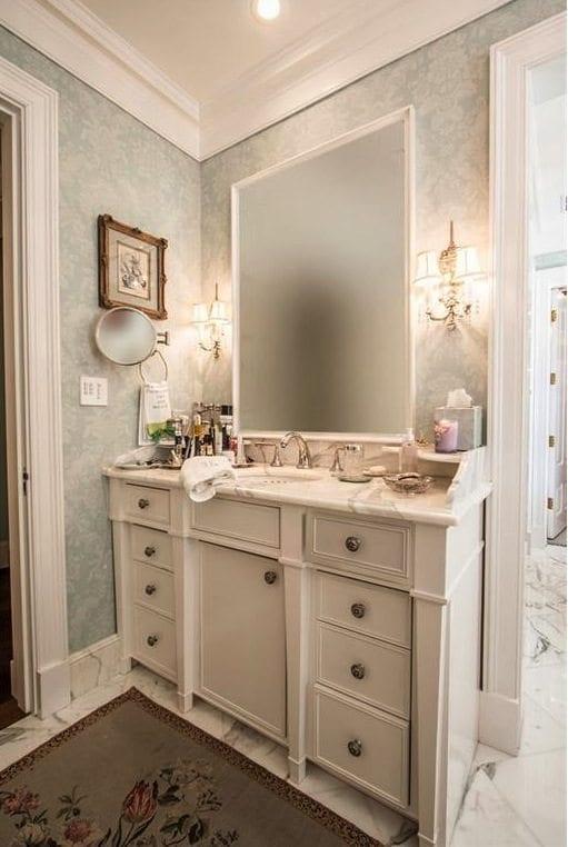 Blue Damask Bathroom Wallpaper The Glam Pad