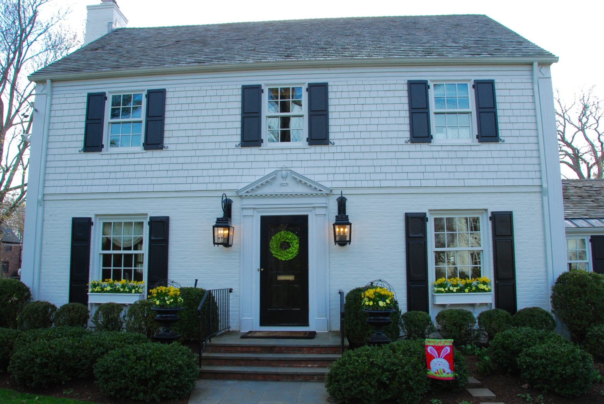 Classic White House Black Shutters Architecture Colonial