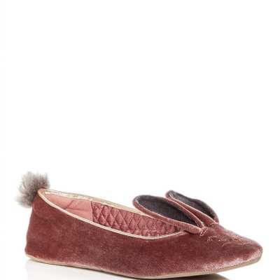 Pink Velvet Bunny Slippers