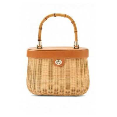 Bamboo Handle Wicker Satchel
