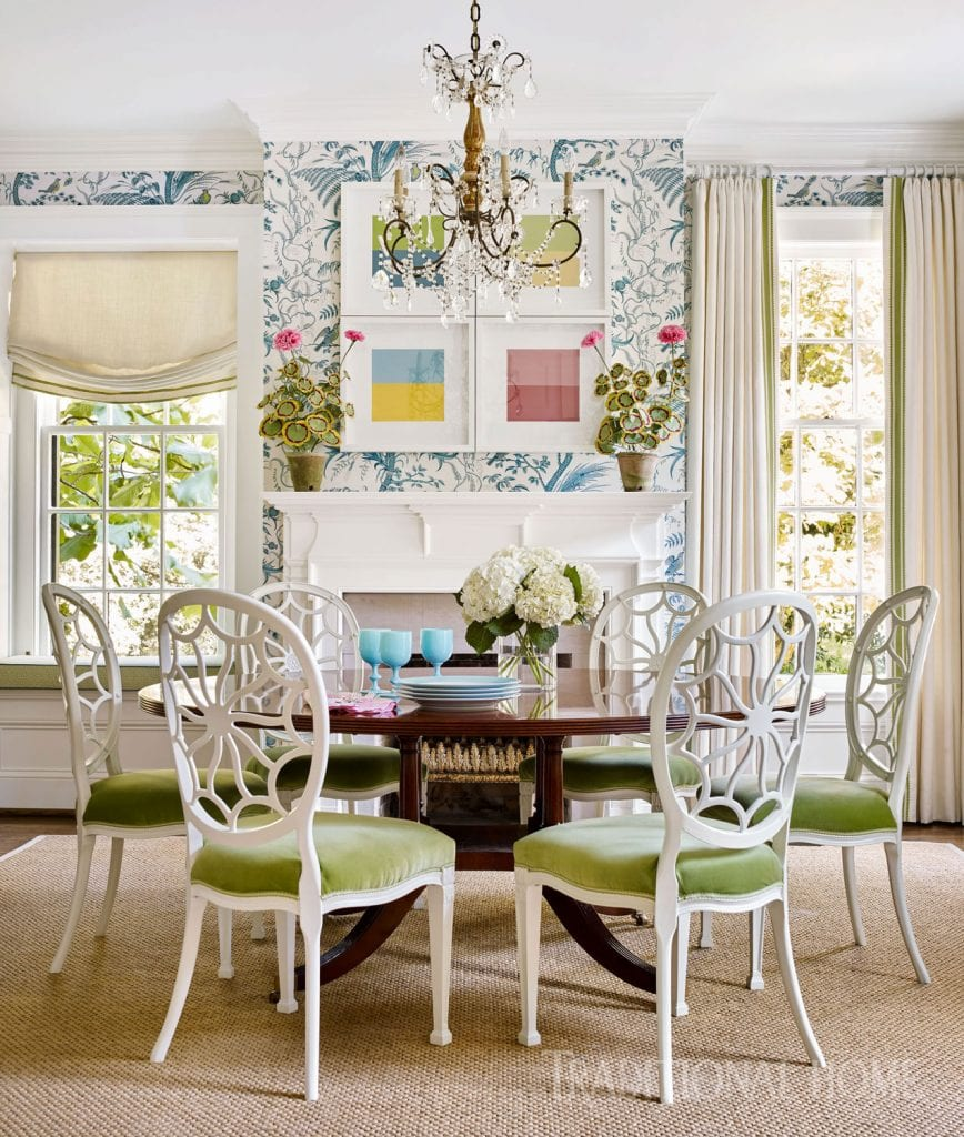 bird-thistle-wallpaper-hepplewhite-chairs-dining-room-abstract-art ...