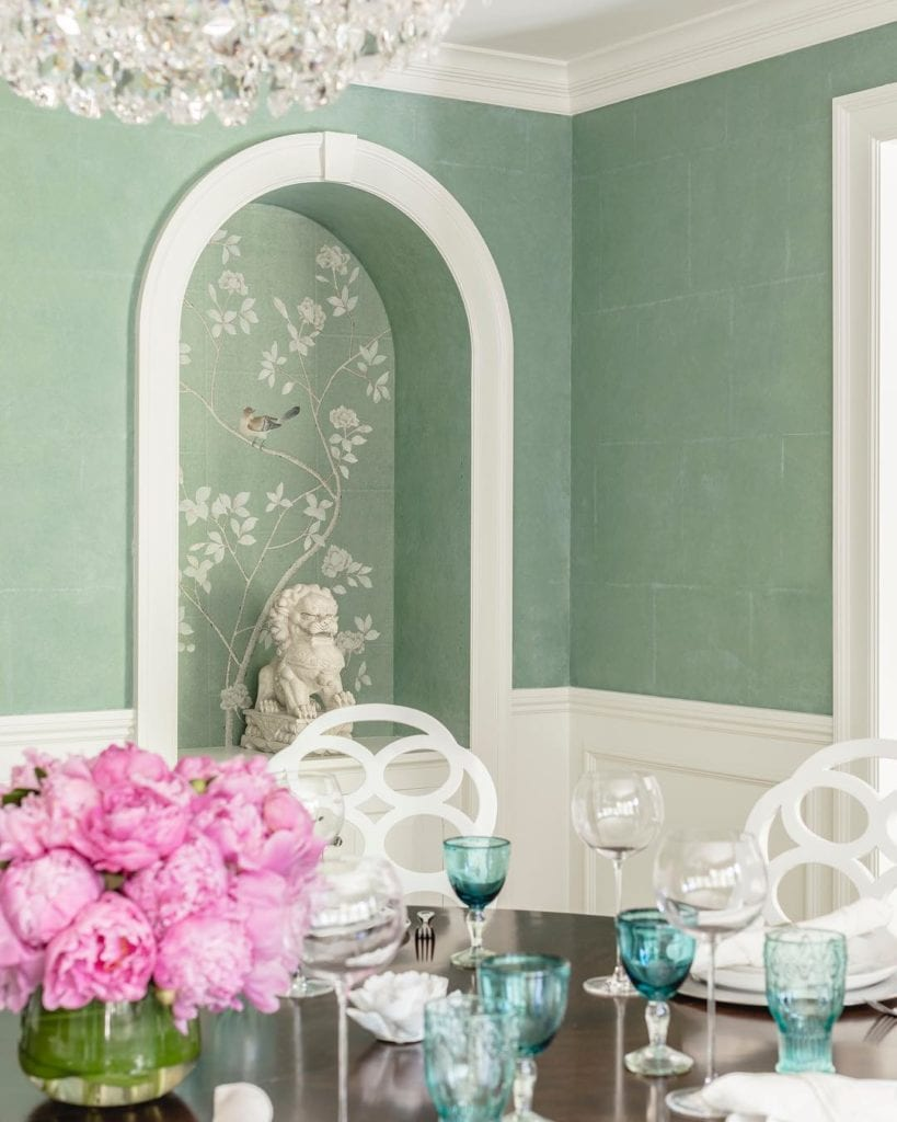 Diningroom Degournay Wallpaper Featured In A Wellesley Dining  Room By Carter Company
