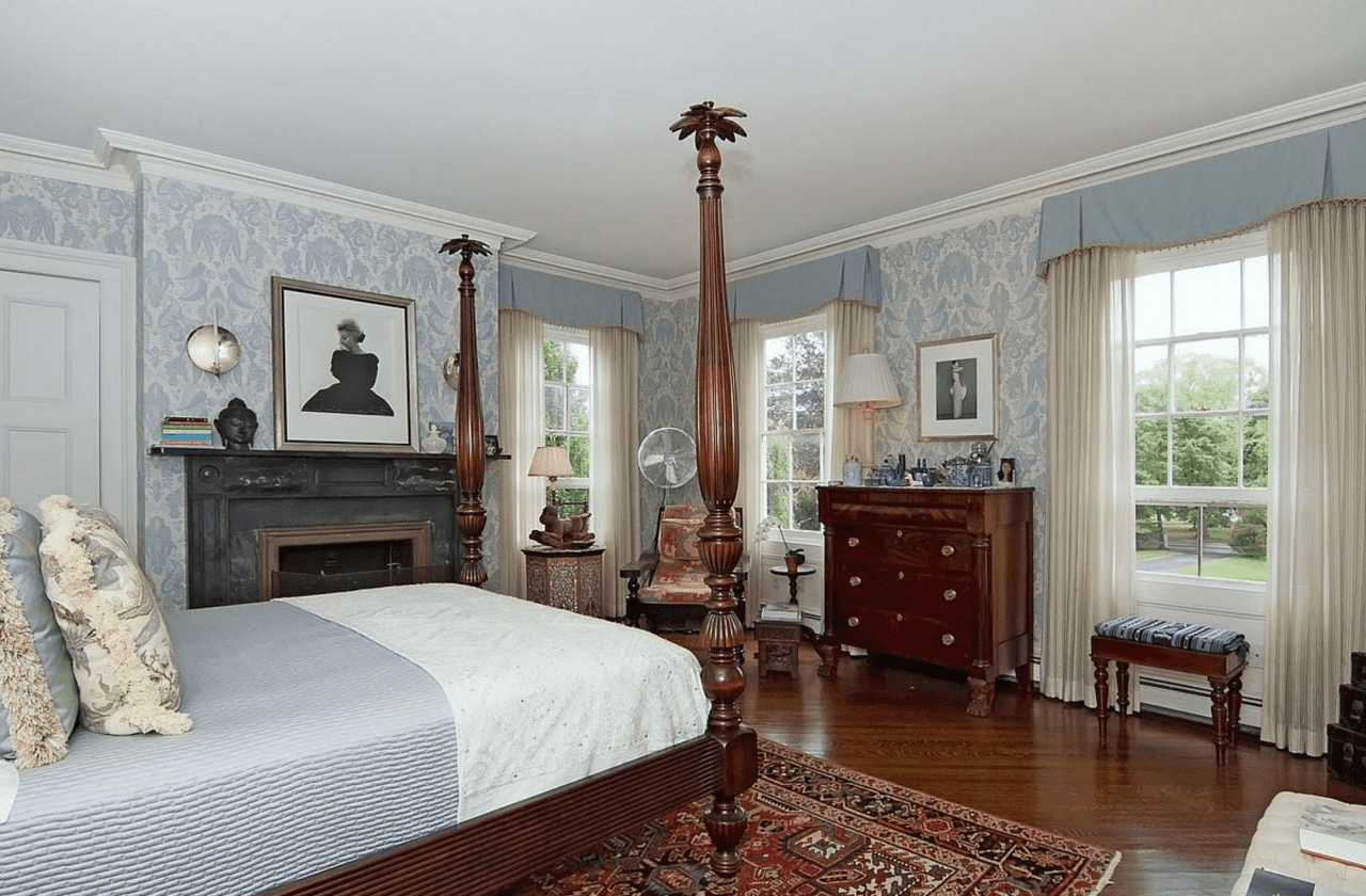 Blue Damask Wallpaper Bedroom Four Poster Bed The Glam Pad