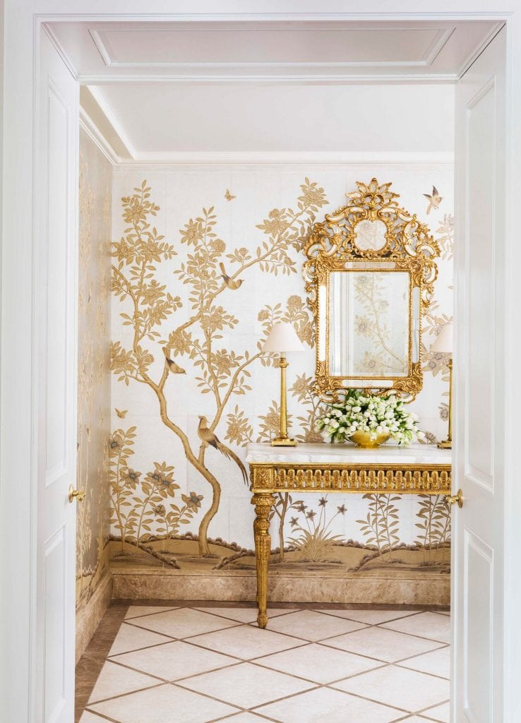 Gracie Hand Painted Chinoiserie Wallpaper Metallic Gold Silver