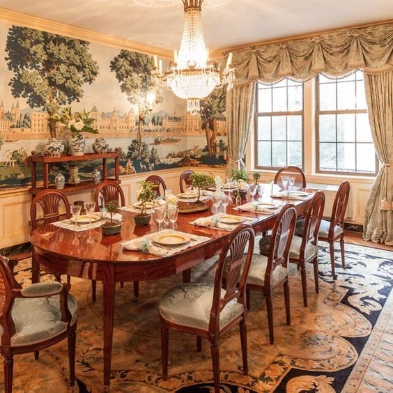 Traditional Dining Room Formal Curtains Persian Oriental Rug