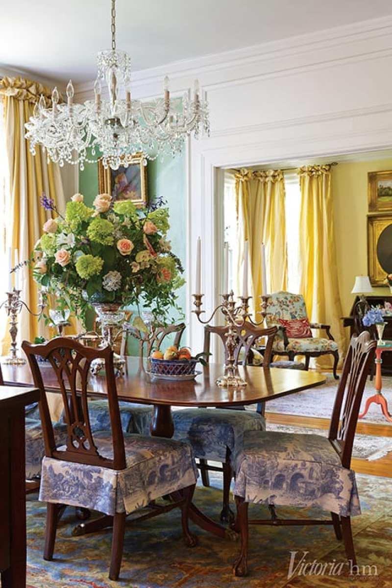 formal-dining-room-silk-curtains-crystal-chandelier-sterling-silver-candelabras