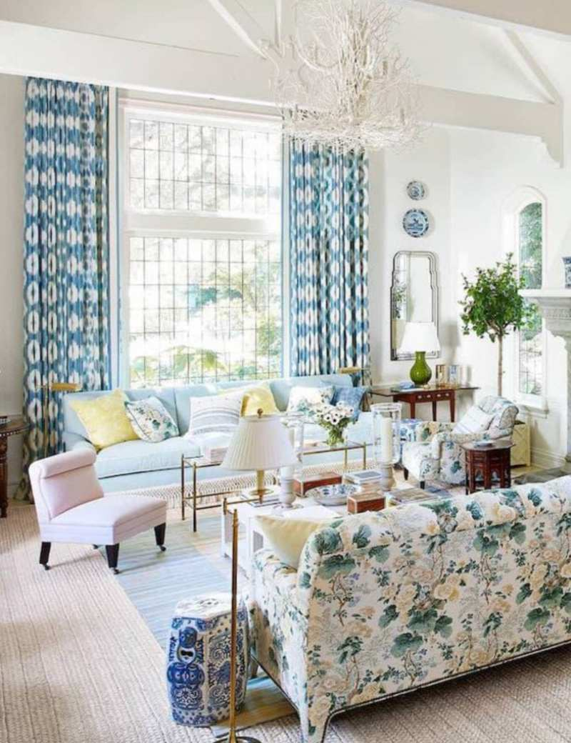 coral-chandelier-swing-arm-lamps-visual-comfort-slipper-chair-george-smith-chintz-althea