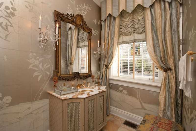 elegant-powder-room-chinoiserie-hand-painted-wallpaper-marble-vanity-silk-curtains