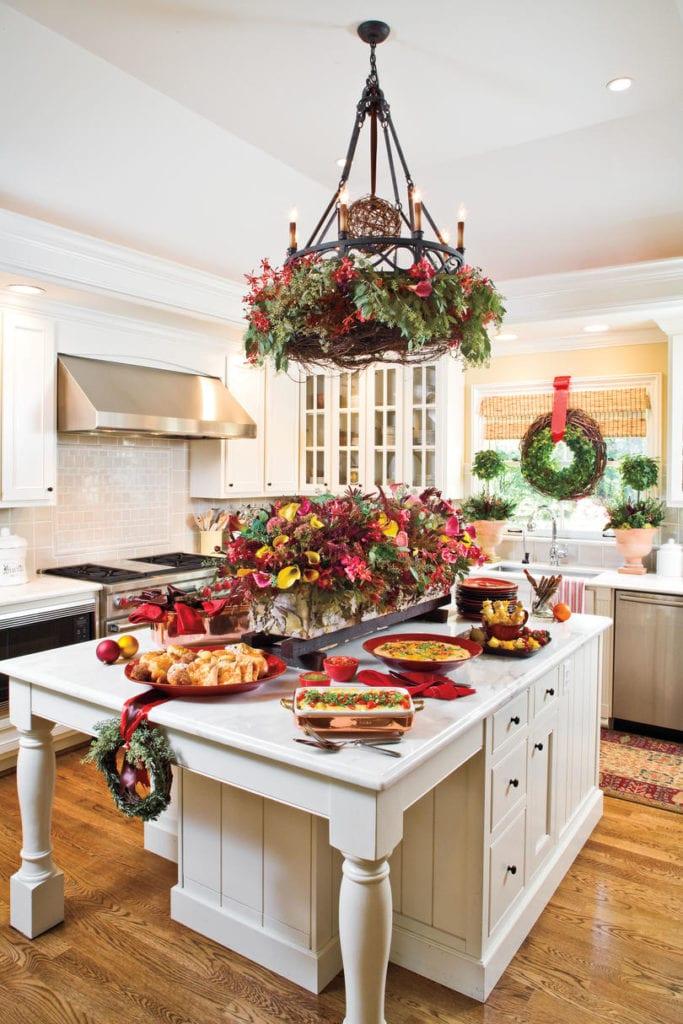 Elegant White Kitchen Center Island Southern Living Christmas Decor The Glam Pad