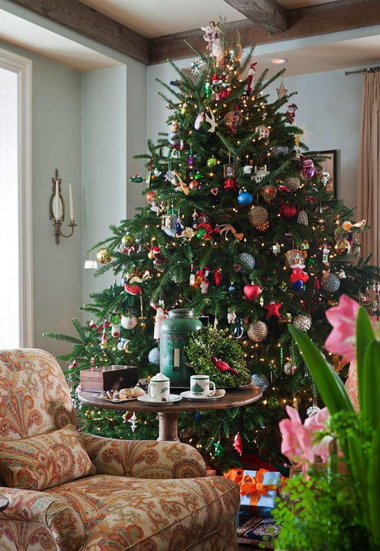 Fraser Fir Christmas Tree Decorated For Holidays Ornaments