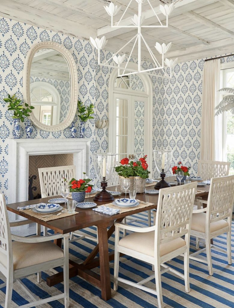 Phoebe Howard Blue White Dining Room The Glam Pad