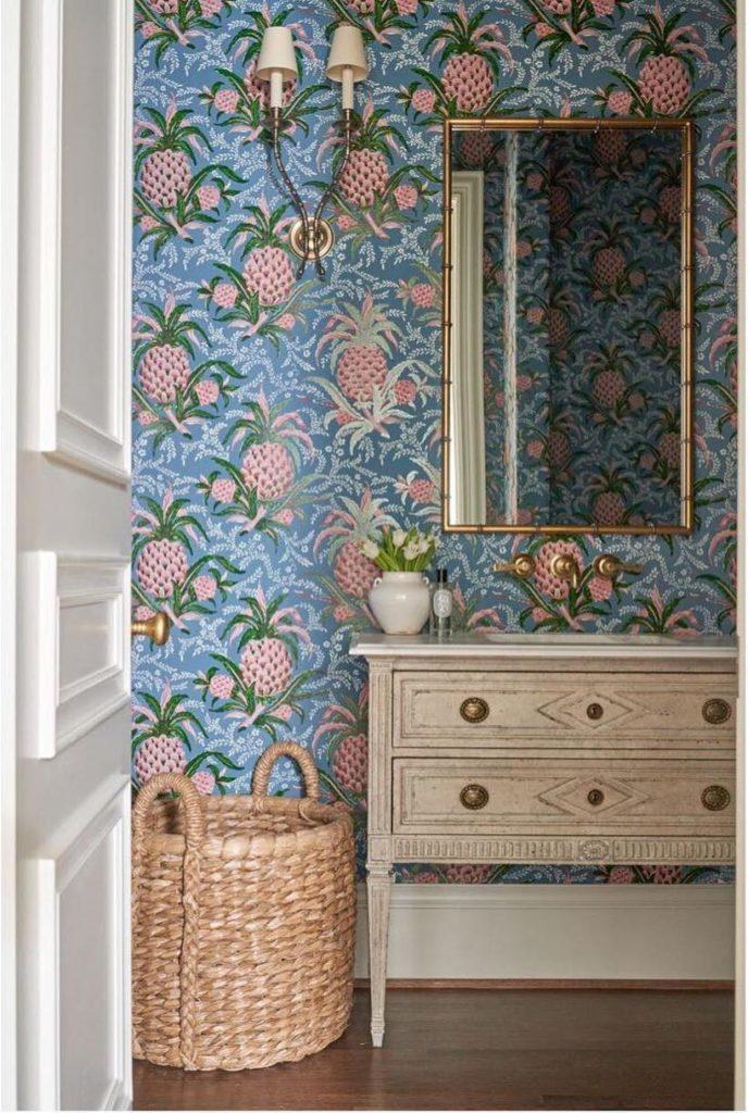 Powder Room By Amy Kartheiser Design: Amy-berry-adelphi-wallpaper-pineapple-powder-room-wicker