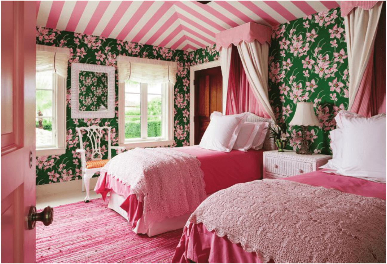 carleton-varney-pink-green-bedroom-palm-beach-chic-striped ...