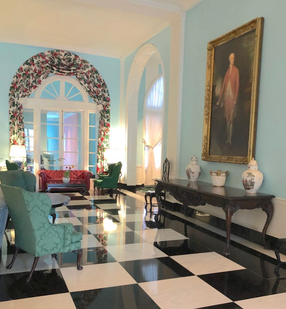 the-greenbrier-oil-painting-chintz-red-leather-sofa-damask ...