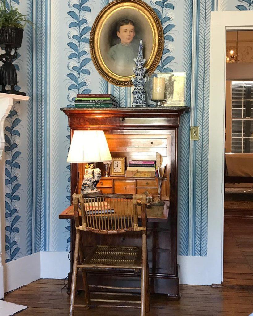 Quadrille Climbing Hydrangea Wallpaper Blue White Secretary