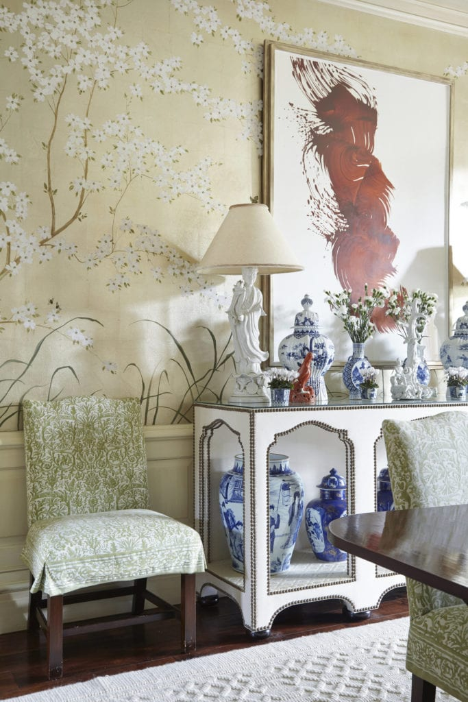 James Naras Painting Abstract Chinoiserie Wallpaper Handpainted