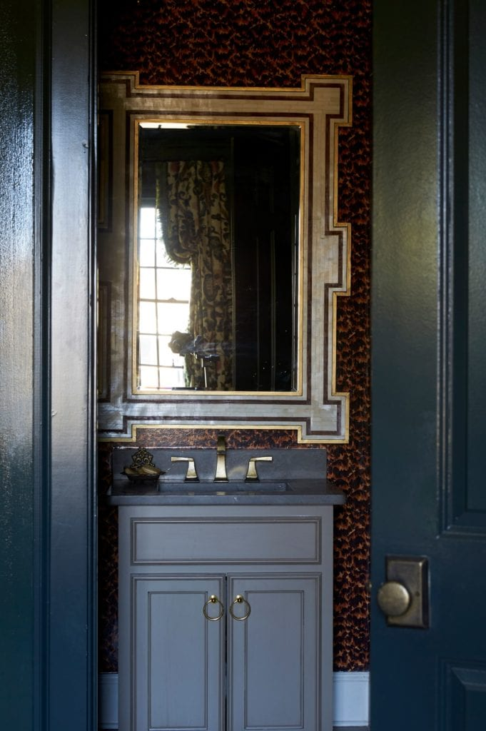 Tortoise Shell Wallpaper Powder Room Navy Blue Paint The