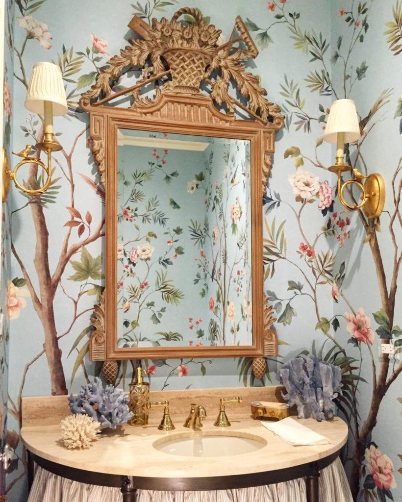 Josh Pickering Interior Design Chinoiserie Wallpaper Powder Room Handpainted Gracie De Gournay The Glam Pad