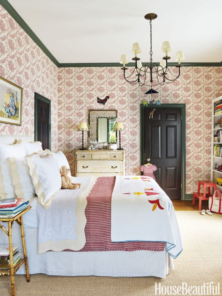 Benjamin Moore Georgian Green catherine-olasky-girls-bedroom-waterhouse wallhangings print